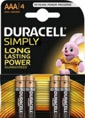 4 MINISTILO AAA 2400 DURACELL SIMPLY ALCALINE 1,5V (#8A) *MINIMO 10BLISTER *IN RIASSORTIMENTO